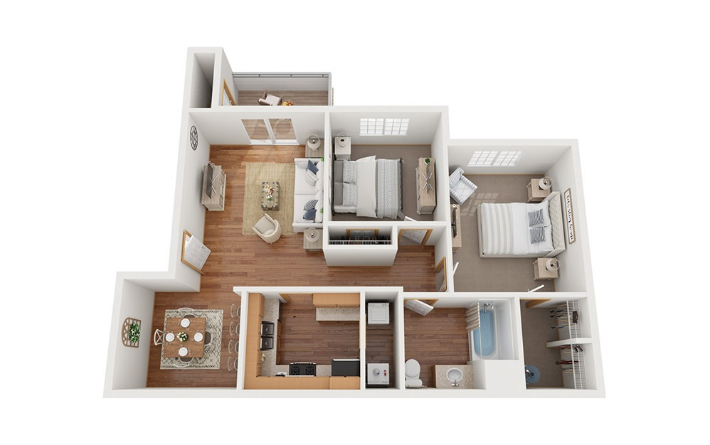 B1 - 2 bedroom floorplan layout with 1 bath and 875 square feet.