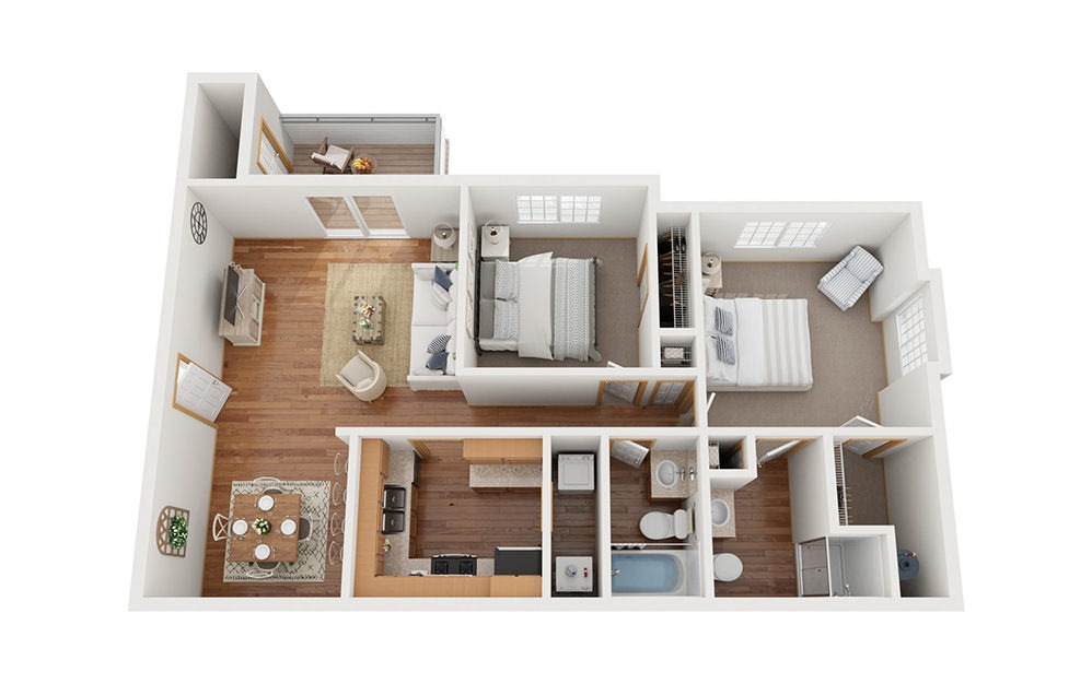 B2 - 2 bedroom floorplan layout with 2 baths and 956 square feet.